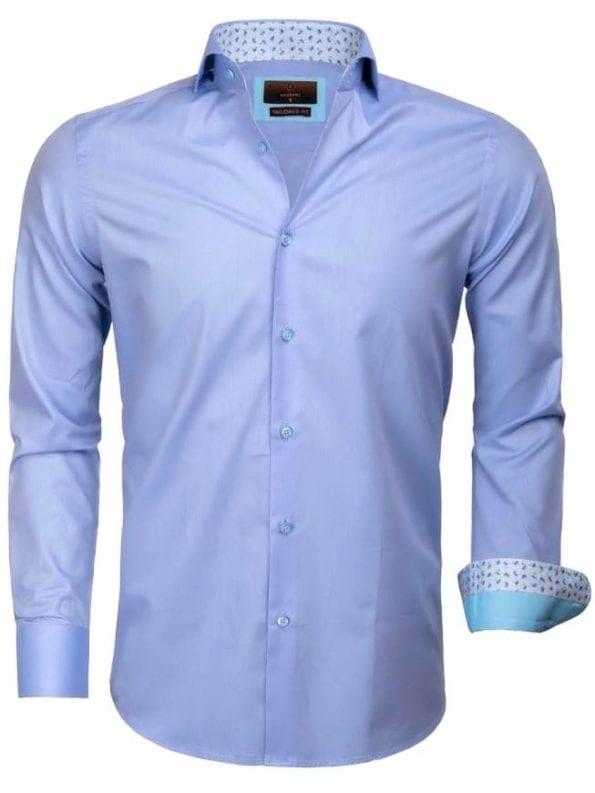 Heren overhemd goedkoop blauw effen 65006 CATANAZARO voorkant
