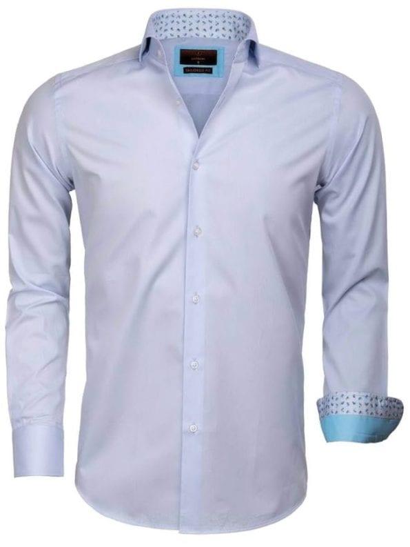 Heren overhemd goedkoop lichtblauw effen 65006 CATANAZARO voorkant
