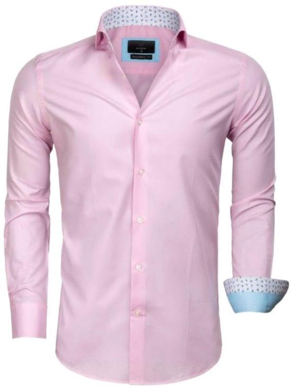 Heren overhemd goedkoop roze effen 65006 CATANAZARO voorkant