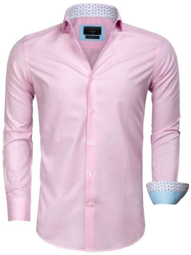 Roze Heren Overhemd.Gaznawi Heren Overhemd Roze Cute Away Boord 65006 Bendelli