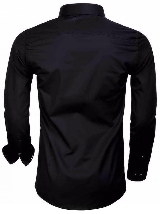 Overhemd Zwart Heren.Gaznawi Heren Overhemd Zwart Dubbele Kraag 65009 Bendelli