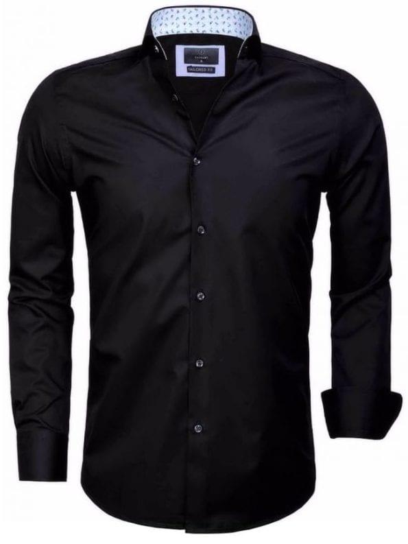 Heren overhemd goedkoop zwart effen 65006 CATANAZARO voorkant
