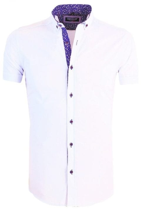 Heren overhemd korte mouw shirt wit gewerkte boord button down Carisma 9094 1 Groot