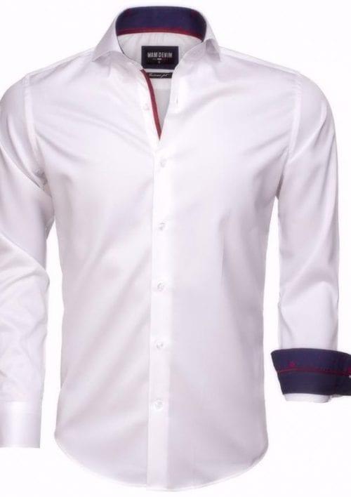 Heren overhemd wit Wam denim overhemd langemouw cut away boord 755229 2 kopie