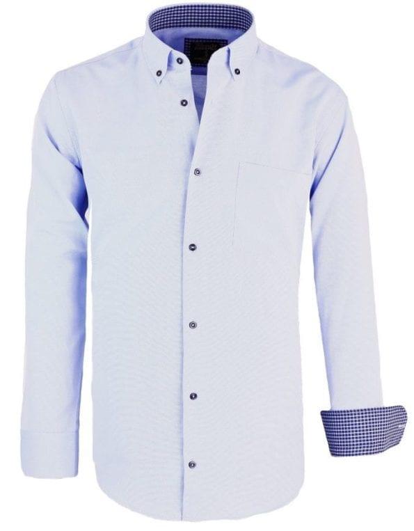Heren overhemden blauw lange mouwEnrico polo met borstvakje 8 Large