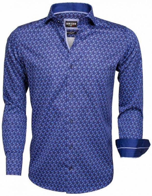 Heren overhemden gewerkt bloemtjes motief print wam denim overhemd langemouw 75533 Blauw cut away boord 2