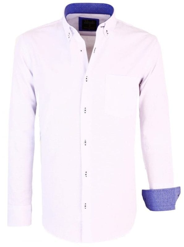 Heren overhemden lange mouw wit Enrico polo met borstvakje 5 Large