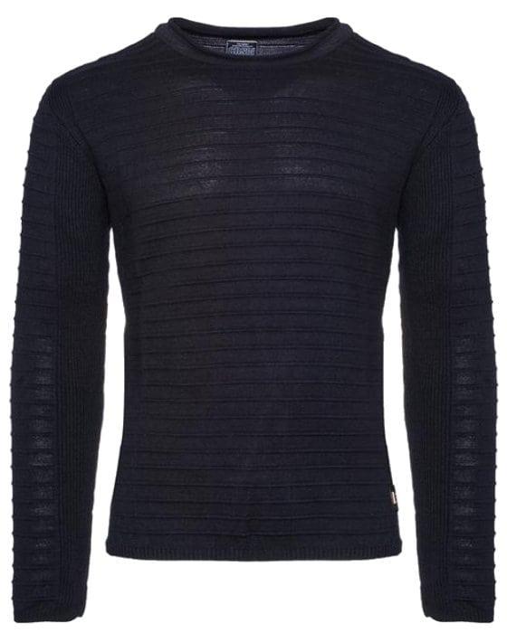 Heren trui gestreept ronde hals blauw 7445 voorkant 3