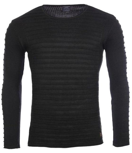 Heren trui gestreept ronde hals zwart 7445 voorkant