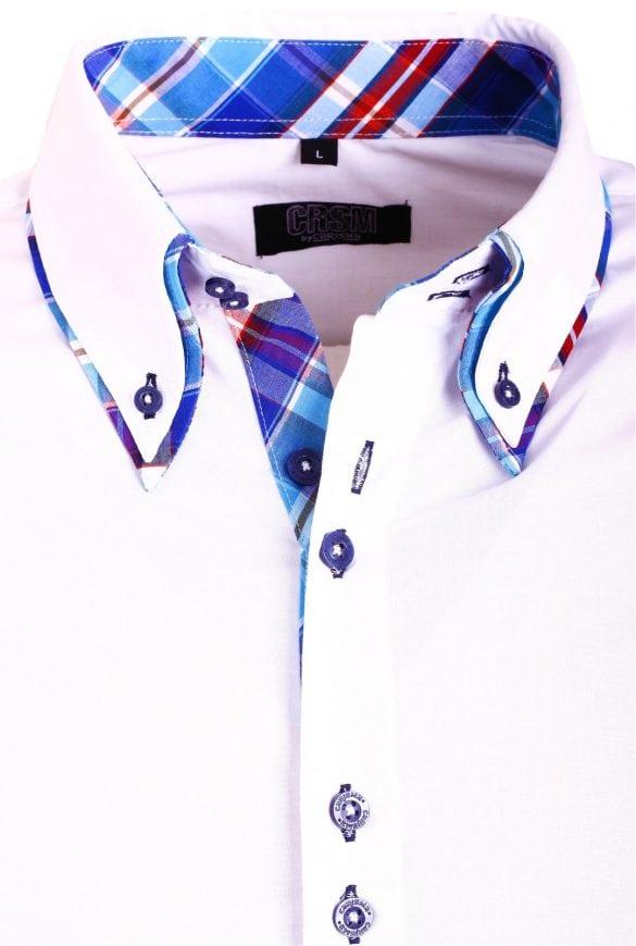 Heren Overhemd Hoge Boord.Carisma Italiaans Overhemd Wit Dubbele Boord Bendelli