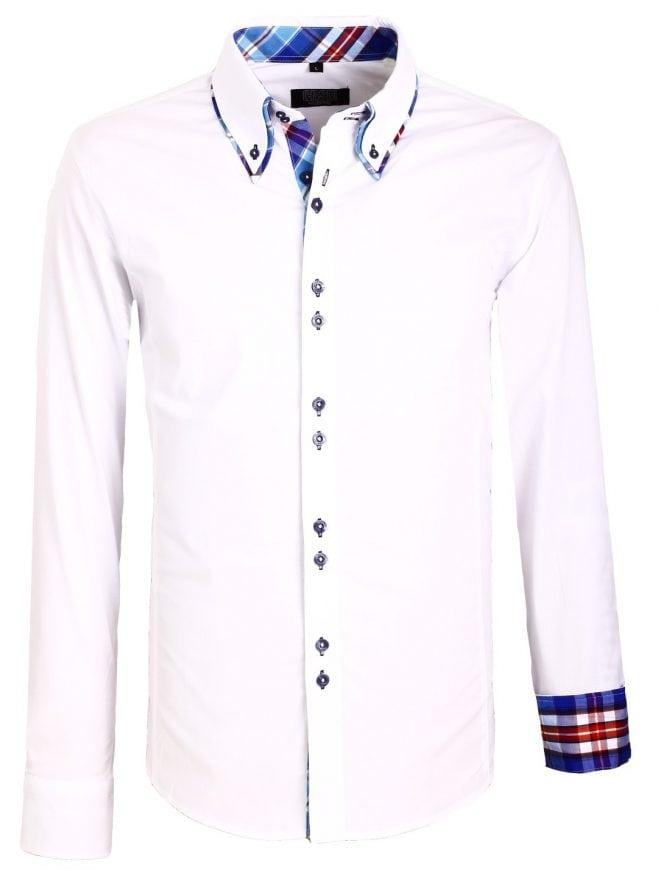 Heren Overhemd Wit.Carisma Italiaans Overhemd Wit Dubbele Boord Bendelli
