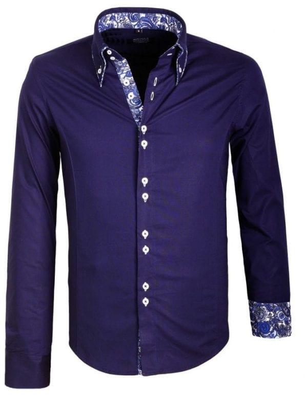 Heren Overhemden Dubbele Boord Carisma Blauw 2 Large