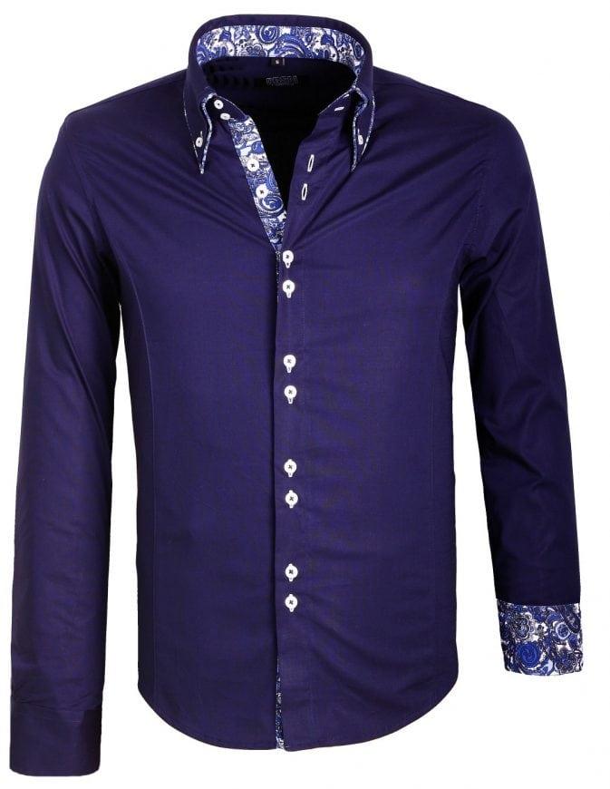 Italiaans Overhemd Heren.Carisma Italiaans Overhemd Dubbele Boord Donkerblauw 8173 Bendelli