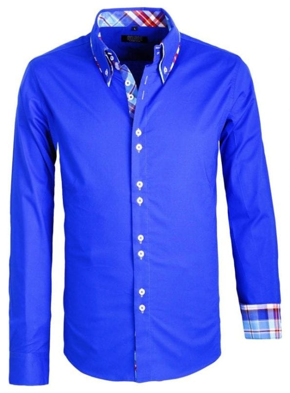 Heren Overhemden Italiaans Dubble Boord Carisma Kobalt 2 Large