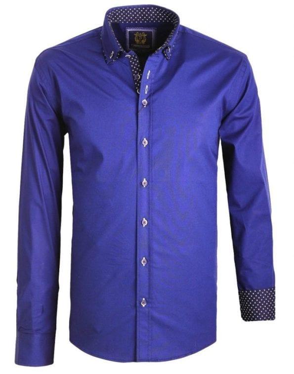 Heren Overhemden Italiaans Dubble Boord Carisma blauw 2 Large