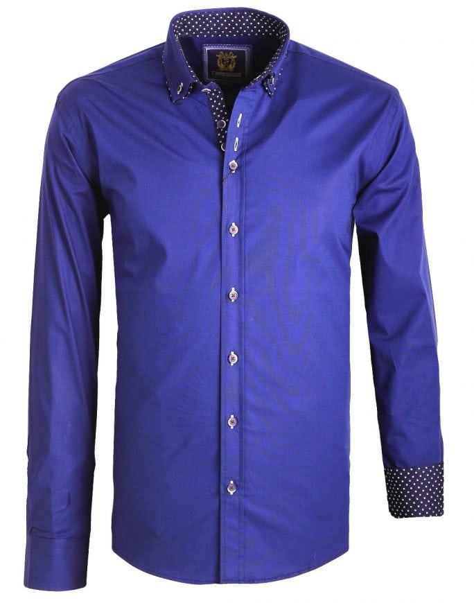 Overhemd Donkerblauw.Carisma Italiaans Overhemd Donkerblauw Dubbele Boord Bendelli