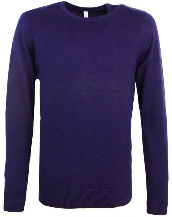 Heren pullover trui ronde hals kariban blauw 2 1 e1524674676756