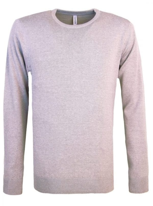 Heren pullover trui ronde hals kariban grijs 2 e1524672272513