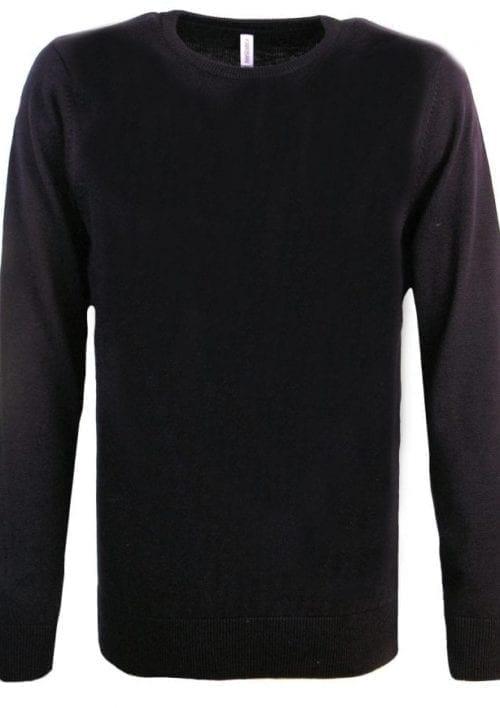 Heren pullover trui ronde hals kariban zwart 2 1 e1524674966152