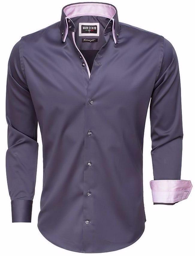 Italiaans Overhemd Heren.Wam Denim Italiaans Overhemd Dubbele Boord Grijs 75514 Bendelli