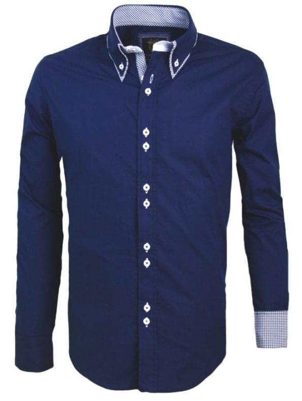 Italiaans Overhemd Carisma Dubbele Kraag Blauw