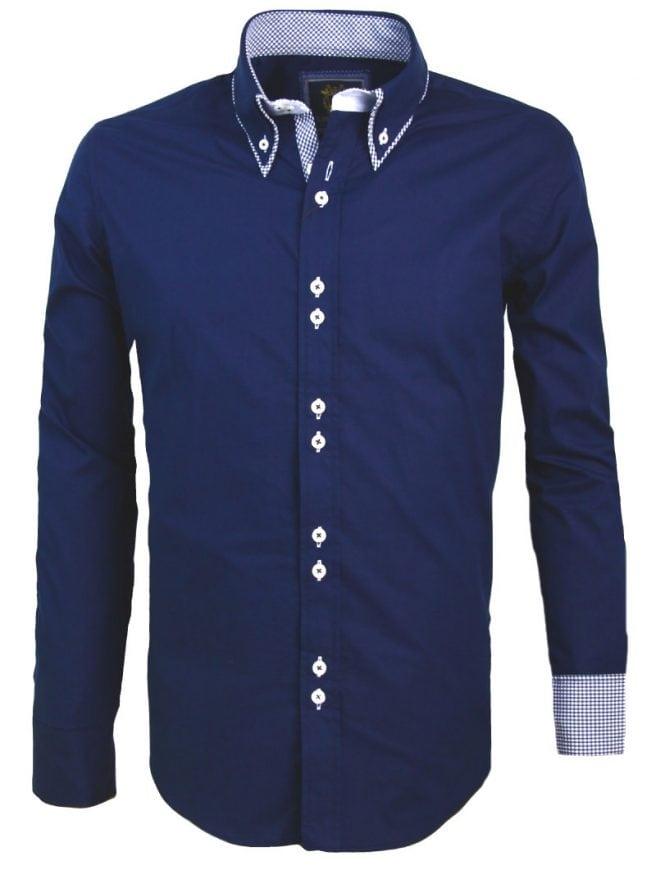 Heren Overhemd Hoge Boord.Carisma Italiaans Overhemd Dubbele Boord Donkerblauw 8260 Bendelli