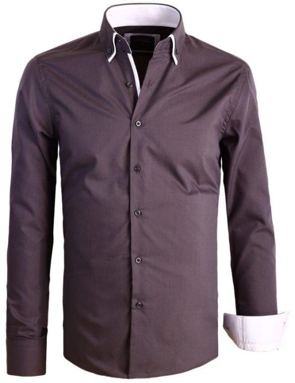 Italiaanse Heren overhemden Dubbele kraag Enrico Polo Grijs 8 Large