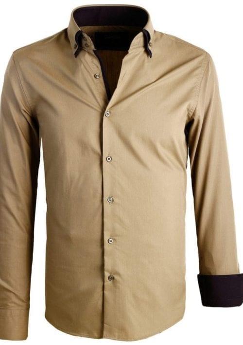 Italiaanse Heren overhemden Dubbele kraag Enrico Polo Groen 2 Large