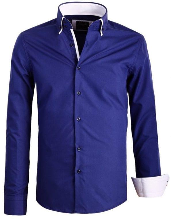 Italiaanse Heren overhemden Dubbele kraag Enrico Polo navy8 Large