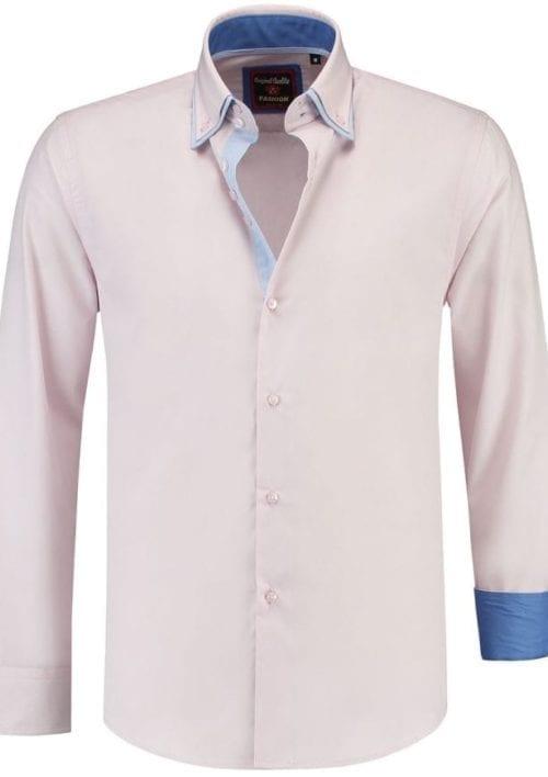 Italiaanse Overhemden Martino Milano Roze Dubbelle boord 150010