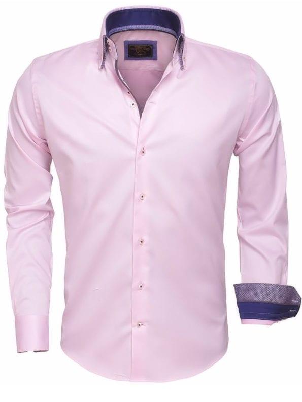 Italiaanse Overhemden wam denim overhemd 75397 Roze Bendelli