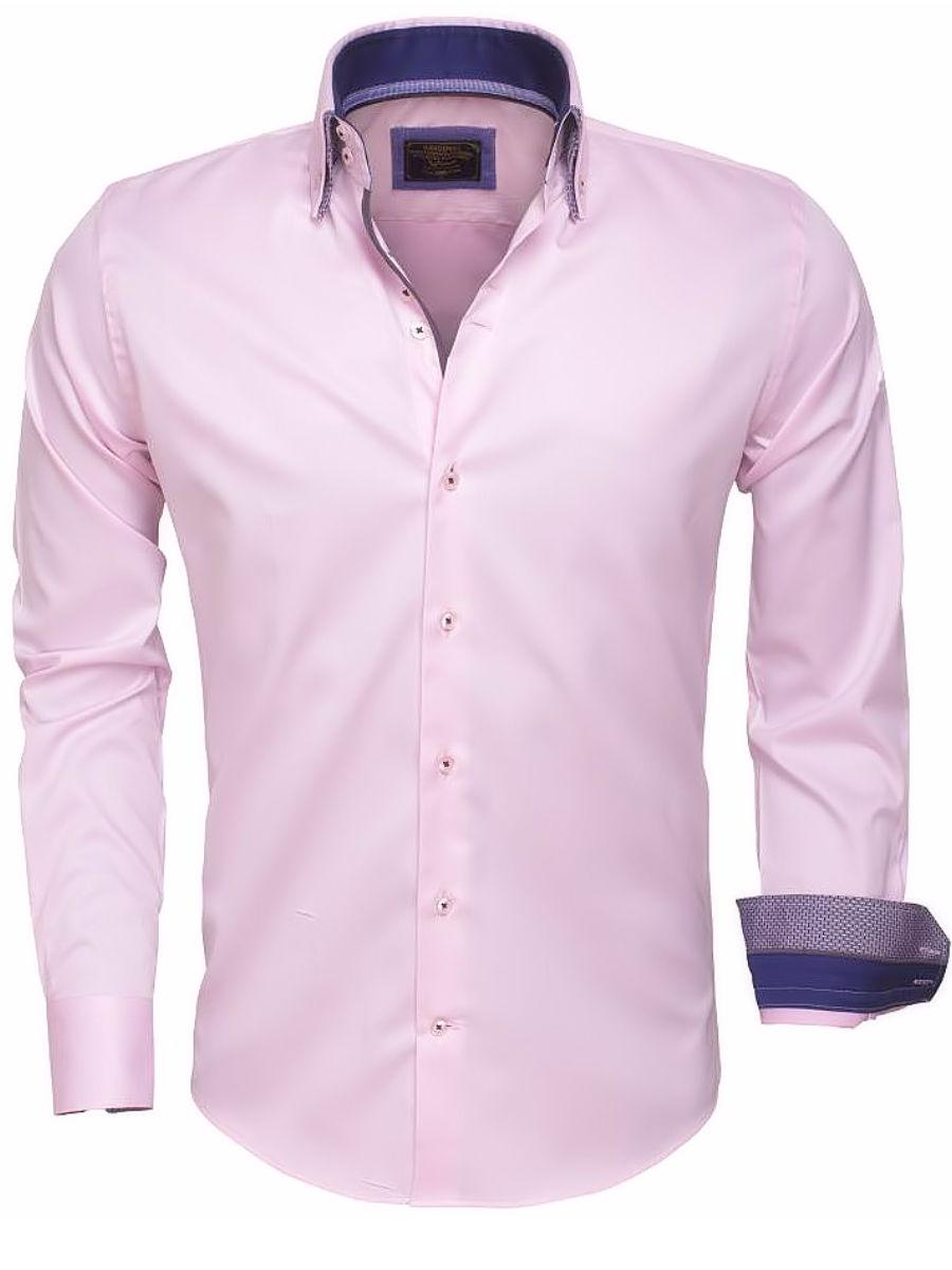 Roze Overhemd.Wam Denim Overhemd Roze Dubbele Kraag 75397 Bendelli