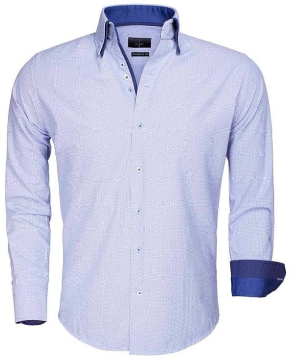 Lichtblauw Gaznawi heren overhemd Lange mouw dubbele boord goedkoop Benevento 65015 voorkant