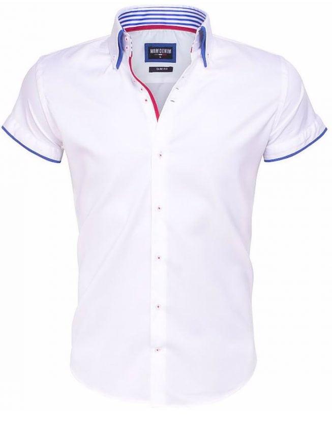 Slim fit overhemden korte mouw wit dubbele boord Wam Denim