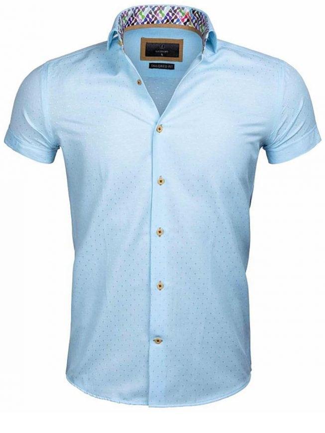 Slim fit overhemden korte mouw blauw Wam Denim