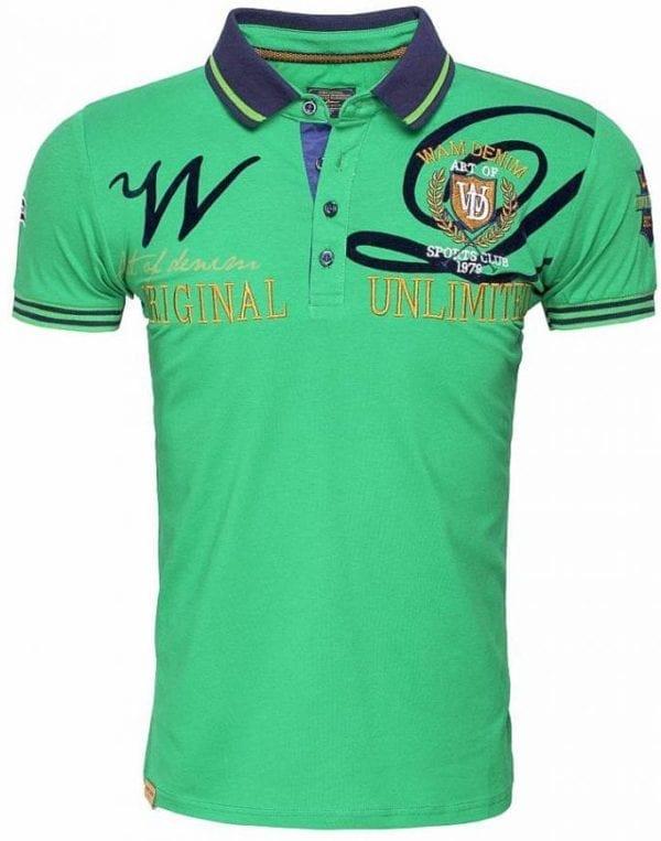 Poloshirts heren Korte Mouw Wam Denim Logo Merk Groen 5