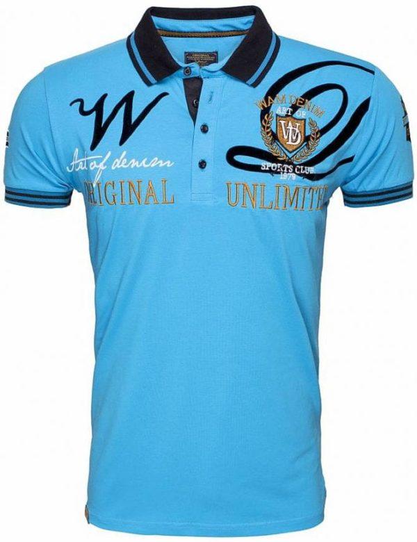 Poloshirts heren Korte Mouw Wam Denim Logo Merk Turquoise 9