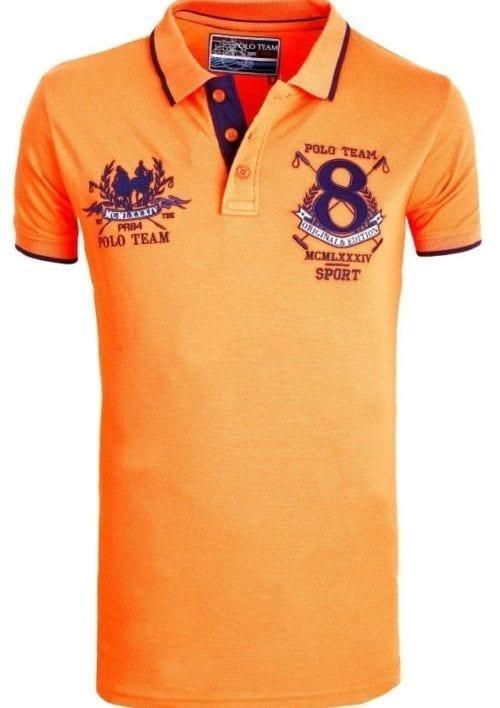 Rivaldi Herenpolo Poloshirt Borduursel Korte Mouw Oranje 2 Large