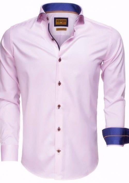 Roze overhemd heren enkele kraag Cute away boord Wam Denim Egyptisch katoen Bendelli langemouw 75508 3