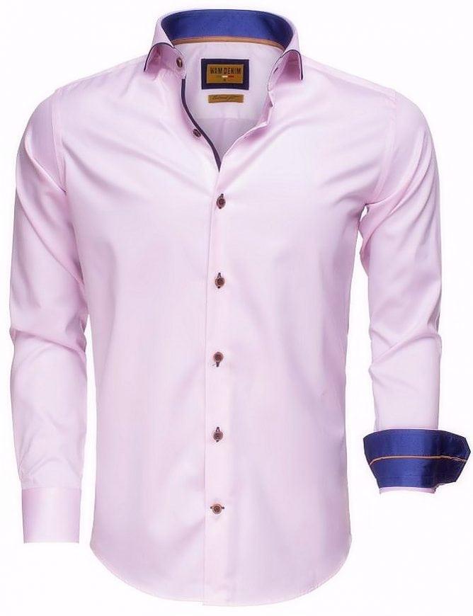 Roze Overhemd.Wam Denim Italiaans Overhemd Enkele Boord Roze 75508 Bendelli