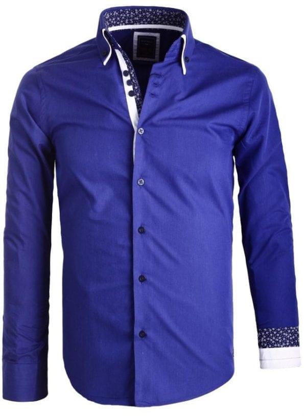 Sette Fratelli Heren OverhemdendDubbele kraag Donkerblauw 3 Large
