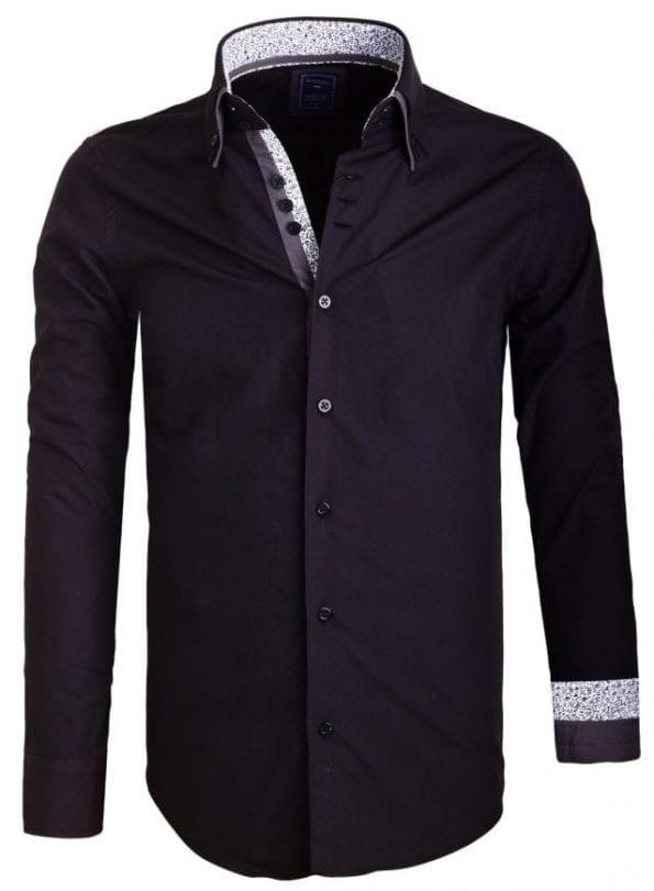 Sette Fratelli Heren OverhemdendDubbele kraag Zwart 4 Large
