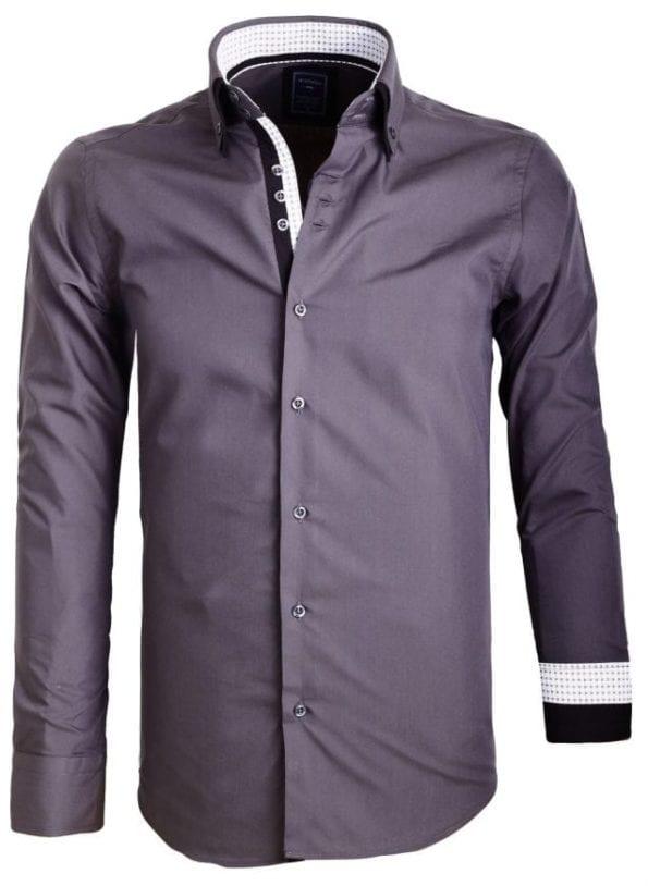 Sette Fratelli Heren OverhemdendDubbele kraag bruin 3 Large