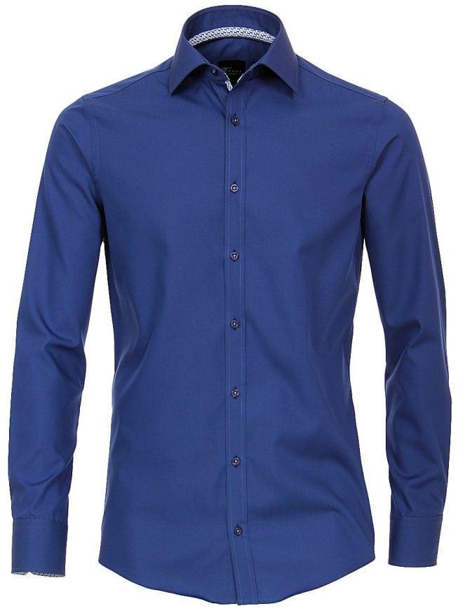 Heren Overhemd Blauw.Venti Heren Overhemd Blauw Strijkvrij Slim Fit Poplin 183054800