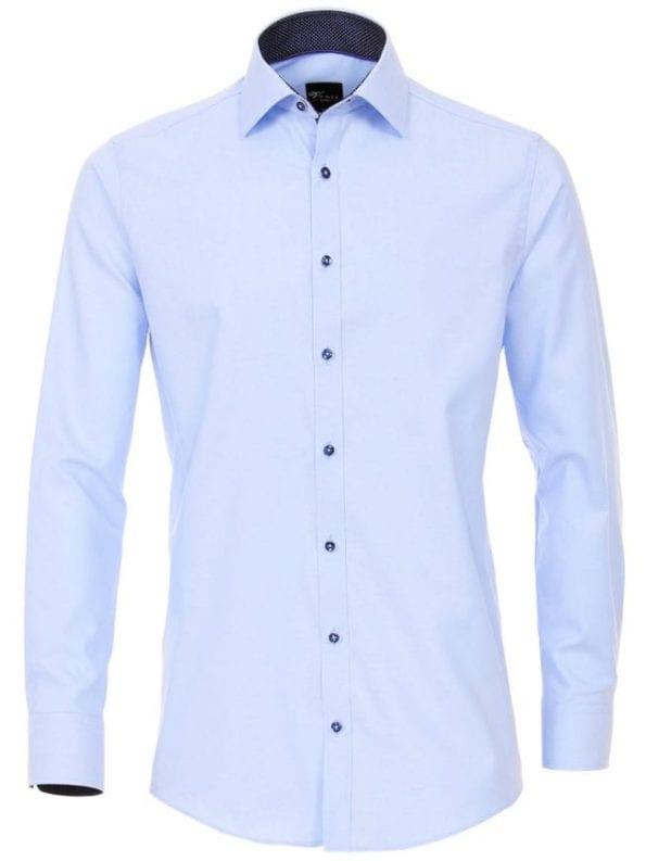 Venti heren overhemden effen blauw lange mouw kent kraag slim fit183055300 100 voorkant 1