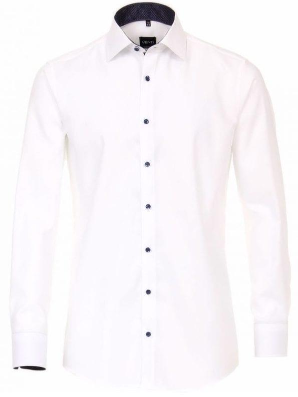 Venti heren overhemden effen wit lange mouw kent kraag slim fit 183055300 000 voorkant 1