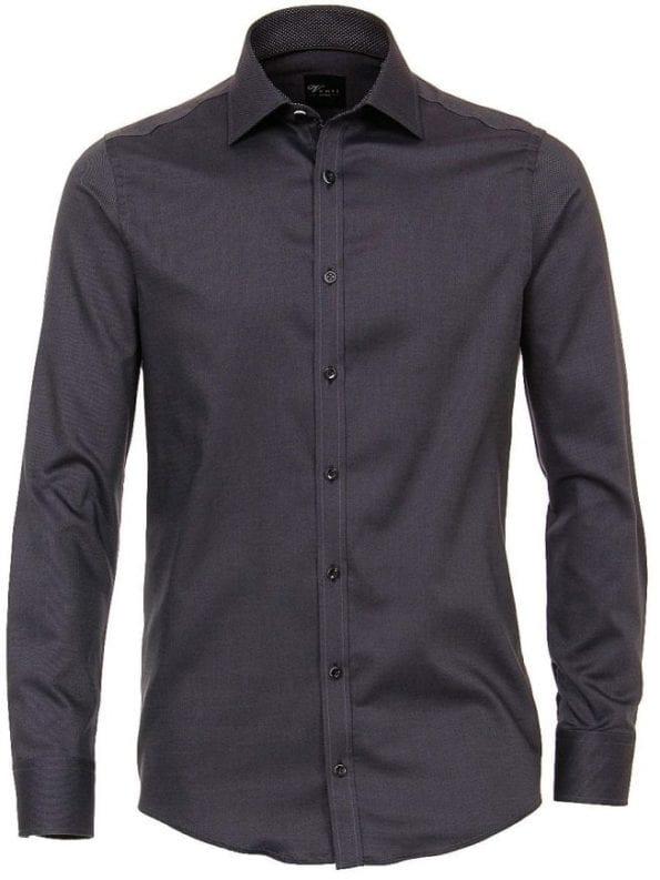 Venti heren overhemden effen zwart lange mouw kent kraag slim fit 183055300 801 voorkant 1