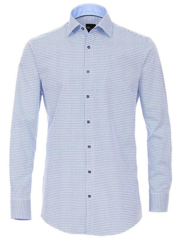 Venti heren overhemden gewerkt blauw lange mouw kent kraag slim fit 183054900 100 voorkant 1