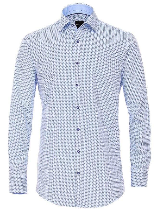 Overhemd Strijkvrij Slim Fit.Venti Heren Overhemd Blauw Gewerkt Strijkvrij Slim Fit Poplin 183054900