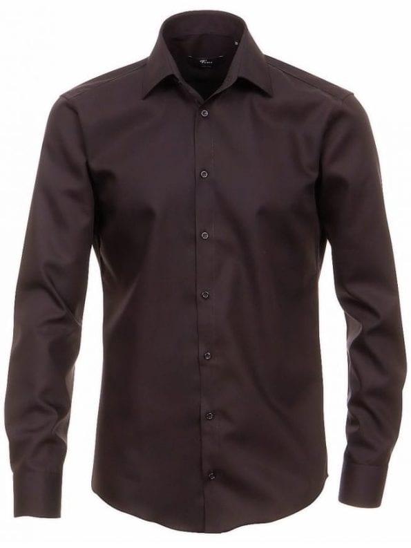 Venti heren overhemden zwart lange mouw kent kraag slim fit 0001480 80 voorkant 1